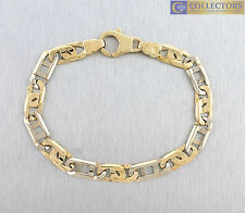 Mens Italian Two-Tone 14K 585 Yellow White Gold 7.35mm Fancy Link Chain Bracelet