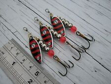 E41. 3 Nickel Red Black Spinners 6g #1 Lure, Flying C Bass Salmon Pike Sea Trout
