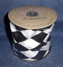 """Designer Donna Stevens 4"""" x 10 Yards Black & White Harlequin Wired Edge Ribbon"""