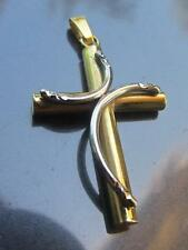 Solid Platinum 950 and Solid 18K Yellow Gold Cross Pendant