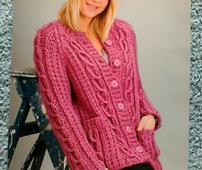 "Knitting pattern raglan sleeve cardigan/jacket  30"" to 46"""