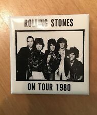 "THE ROLLING STONES ON TOUR 1980 VINTAGE ORIGINAL PIN BUTTON BADGE 2 1/8"" NICE"