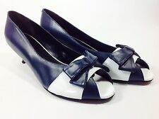 Large Size Ladies SHOES OF PREY Blue White Kitten Shoes Size 11/EU 45 DRAG TV CD