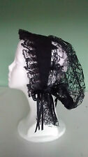 Civil War Reenactment Ladies Black Mourning Lace Day Cap