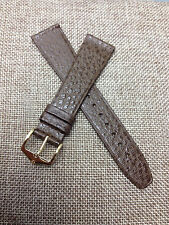 20mm BROWN VINTAGE HIRSCH GENUINE SADDLE LEATHER WATCH BAND n CASE NEW OLD STOCK