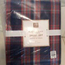 Pottery Barn Teen Fireside Plaid Flannel Sheet Set Full NIP! Navy Orange