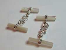 MOTHER OF PEARL AND STERLING SILVER  CUFF LINKS  - NEW