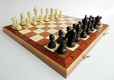 NEW LARGE TOURNAMENT NUMBER 7 WOODEN CHESS SET WITH WEIGHTED PIECES 48cm x 48cm