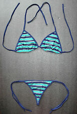 Sexy Blue & Gold G-STRING BIKINI Ladies Swimming Costume 2 Piece Thong Swimsuit