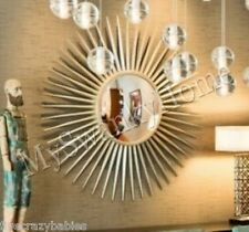 "Extra Large 42"" Silver Sunburst Starburst Wall Mirror XL Contemporary Modern"