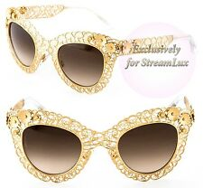 DOLCE & GABBANA FILIGREE Sunglasses DG 2134 02-13 Gold Lace Brown Lenses