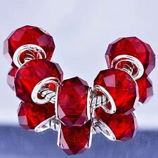 5pcs Red Crystal murano glass beads Silver Charms fit European Bracelet