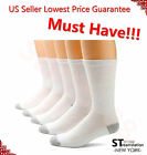 New 12 Pairs CREW Mens Solid Sports Socks Cotton 10-13 13-16  White LOT USA LONG