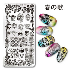 1Pc Nail Art Stamp Plate SKull Rose Pattern Manicure Template Harunouta L035