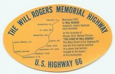 ROUTE 66 WILL ROGERS MEMORIAL HIGHWAY VINTAGE TRAVEL TOURIST LUGGAGE LABEL
