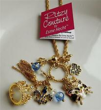 RITZY COUTURE LOGO 18 CARAT YELLOW GOLD PLATED CRYSTAL ENAMEL NECKLACE NEW QVC