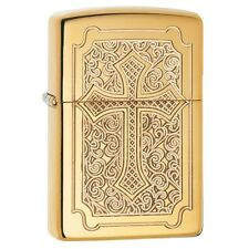"Zippo ""Deep Carved Cross"" High Polish Brass Finish Lighter, Armor, 29436"