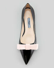 Prada Bicolor Pointed-Toe Bow Flat Black/Pink 40.5/ 9.5