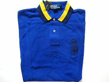 Ralph Lauren Polo Big Pony Blue w/ Striped Collar 100% Cotton Summer Shirt sz L