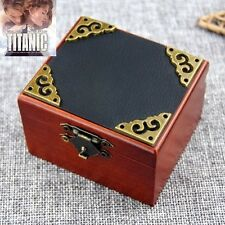 Vintage Square Black Cover Wind Up Music Box  :  My Heart Will Go On @ Titanic
