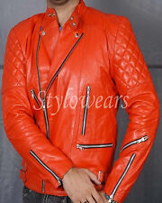 New Mens Brando Perfecto Vintage Designer Biker Motorcycle Red Leather Jacket