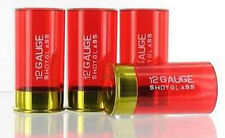 12 Gauge Shotgun Shell Shot Glasses, Red, Set of 4 New