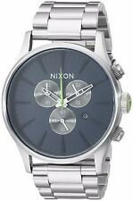 Nixon Mens The Sentry Chrono Midnight Blue / Volt Green Dial SS Bracelet Watch