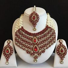 MAROON GOLD INDIAN COSTUME JEWELLERY NECKLACE EARRINGS PEARL SET BRIDAL NEW GIFT