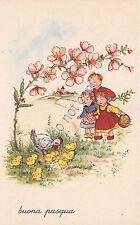 Cartolina - Postcard - Illustrata - Buona Pasqua - fiori di pesco - pulcini