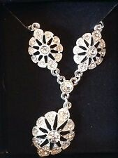 AVON STUNNING HEIRLOOM NECKLACE Y DROP RHINESTONE MEDALLIONS *BOXED*