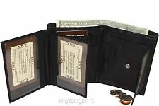 Ladies Leather Black wallet, 2 Flip side pieces 8 card slots 3 ID Zip coin case
