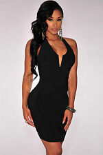 Mini Abito nero schiena aperta scollo Knotted Low Back Halte Mini dress clubwear