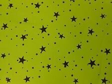 LIME GREEN (KAWASAKI) WITH BLACK STARS STRETCH COTTON ELASTANE TWILL FABRIC