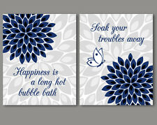 2 prints, art for bathroom wall decor - quotes / sayings, navy and grey flowers