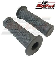 "Big Port Motorcycle Handlebar 1"" Grips Diamond Grey Cafe Racer Custom"