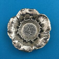 "Antique Sterling Silver Poppy Flower 3.25"" Candy Bowl Nut Floral Design"