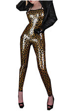 Ladies Sexy Leopard Faux leather Wetlook Outfit Costume fancy dress size M 8 10
