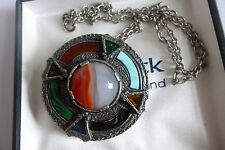 VINTAGE SCOTTISH CELTIC MIRACLE INLAID & BANDED AGATE BROOCH PENDANT ALL IN ONE