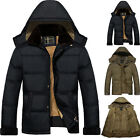 Mens Jacket Winter Warm Coat Hooded Bubble Puffer Padded Fleece Lined Zip Winter