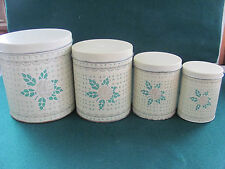 VTG SET OF 4 GREEN & BEIGE FLORAL TIN CANISTERS BY MEISTER / MADE IN BRAZIL