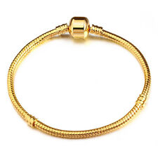 Fashion Snake Chain Gold Plated Charm Bracelets Fit European Beads 17cm