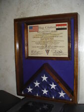 U.S. FLAG & CERTIFICATE DOCUMENT DISPLAY CASE - SOLID WALNUT - IRAQ, AFGHANISTAN