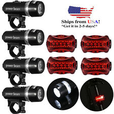 4x Bike Front 5 LED Head Light Bicycle Waterproof Lamp + Rear Safety Flashlight