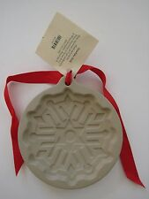 1997 Wilton Ceramic Cookie Shortbread Mold NEW With Tag & Ribbon - Snowflake