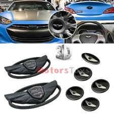 Set 7PC Emblem Badge (Grille Trunk Steering Wheel Rim) For Hyundai GENESIS COUPE