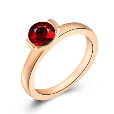 ROXI Brand Hot Fashion 18K Rose Gold Plated Red Crystal Band Ring Size 8