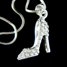 w Swarovski Crystal ~Cinderella Princess Slippers High Heel Shoes Charm Necklace