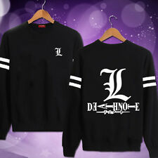 Death Note L logo Sweater Black Cosplay Costume Long Sleeve Unisex Tops M,L,XL
