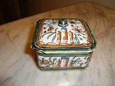 """French hand painted box signed, earthenware porcelain, h-2.25""""/ w-3""""/ d-3"""""""
