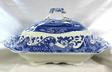 Copeland Spode Italian Blue White Lidded Covered Vegetable Tureen Black Stamp EC